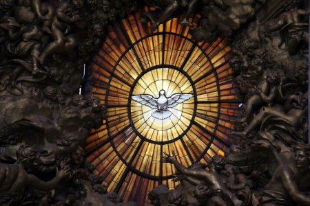Photo for Holy Spirit. Detail of main altar in basilica St. Peter in Vatican. Bernini masterpiece - Royalty Free Image
