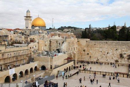 Jewish worshipers pray at the Wailing Wall an important jewish religious site. Jerusalem, Israel