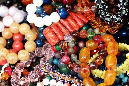 Women's jewelry at the flea market. Selective focus