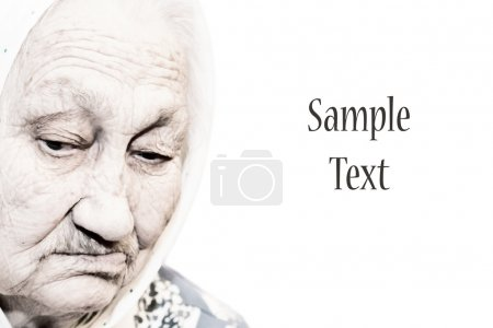 An old woman on a white background