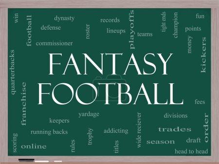 Fantasy Football Word Cloud Concept on a Blackboard