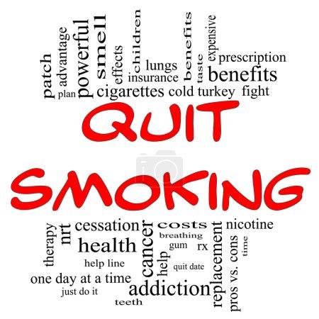 Photo pour Arrêter de fumer mot nuage concept en rouge et lettres noires avec excellentes conditions telles que la nicotine, sevrage brutal, quittez date, patch, cessation et plus. - image libre de droit