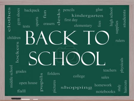 Back to School Word Cloud Concept on a Blackboard