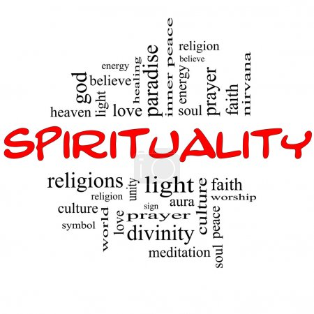 Photo for Spirituality Word Cloud Concept in red and black letters with great terms such as religion, light, prayer, soul and more. - Royalty Free Image