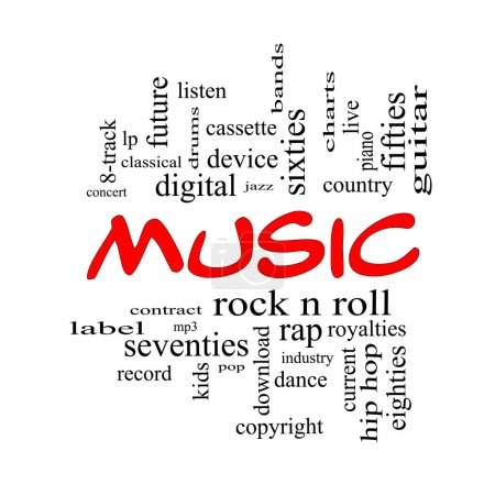 Music Word Cloud Concept in Red Caps