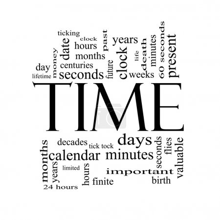 Time Word Cloud Concept in Black and White with gr...