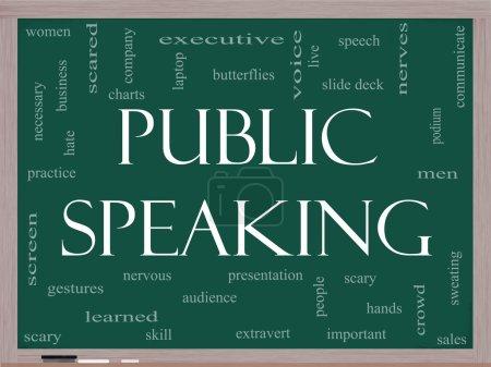 Public Speaking Word Cloud Concept on a Blackboard