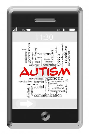 Autism Word Cloud Concept on Touchscreen Phone
