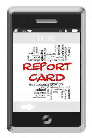Report Card Word Cloud Concept on Touchscreen Phone