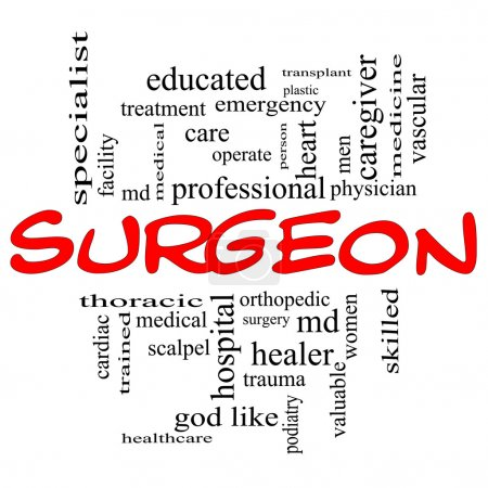 Surgeon Word Cloud Concept in Red Caps