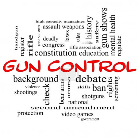 Gun Control Word Cloud Concept in Red Caps