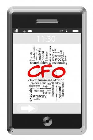 CFO Word Cloud Concept on Touchscreen Phone