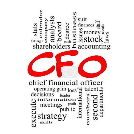 CFO Word Cloud Concept in red caps