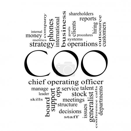 COO Word Cloud Concept in black and white
