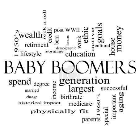 Baby Boomers Word Cloud Concept in black and white