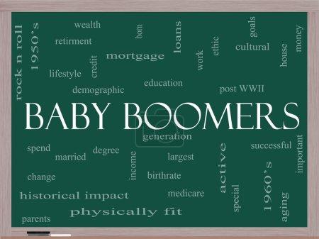Photo pour Baby Boomers Word Cloud Concept sur un tableau noir avec de grands termes tels que génération, plus grand, démographique et plus . - image libre de droit