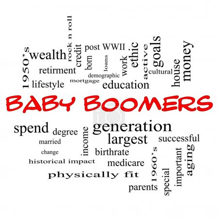 Baby Boomers Word Cloud Concept in Red Caps