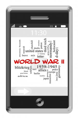 World War II Word Cloud Concept on Touchscreen Phone