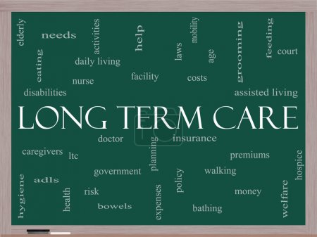 Long Term Care Word Cloud Concept on a Blackboard