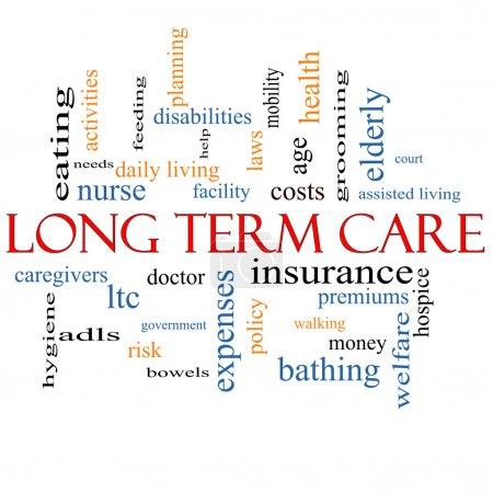 Photo pour Long Term Care Word Cloud Concept avec de grands termes tels que l'assurance, la police, les coûts, les personnes âgées, l'âge et plus . - image libre de droit