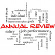 Annual Review Word Cloud Concept in red caps with ...