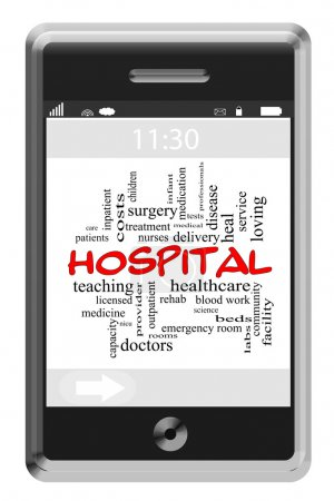 Hospital Word Cloud Concept on Touchscreen Phone