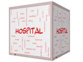 Nemocniční slovo mrak koncepce na 3d krychle tabule