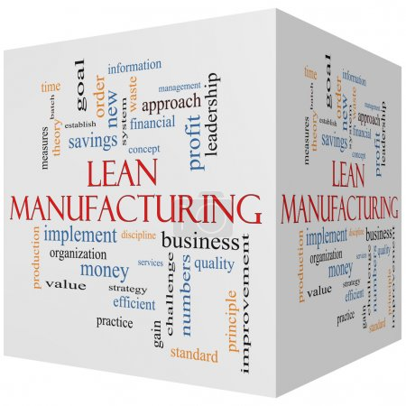 Lean Manufacturing 3D cube Word Cloud Concept