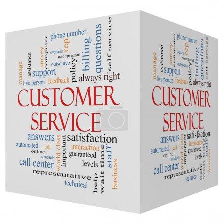Photo pour Mot de cube 3d client service cloud concept avec excellentes conditions telles que le centre d'appels, aide, personnel, rep, etc.. - image libre de droit