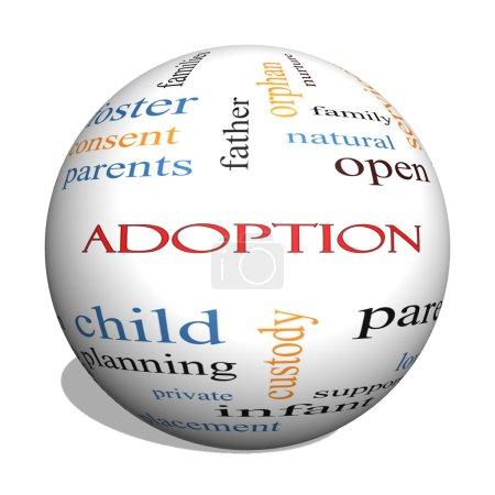 Adoption 3D sphere Word Cloud Concept