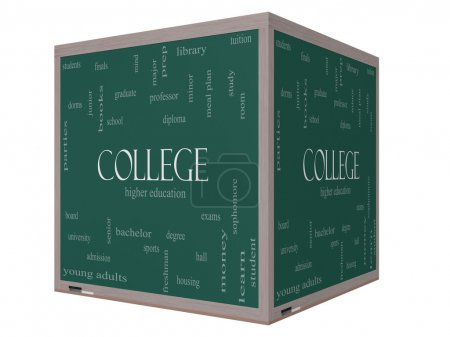 College Word Cloud Concept on a 3D Cube Blackboard