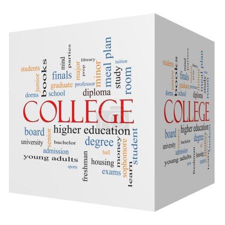 College 3D cube Word Cloud Concept
