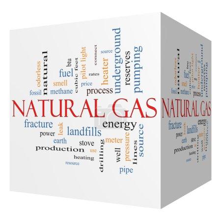 Natural Gas 3D cube Word Cloud Concept