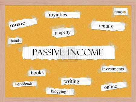 Passive Income Corkboard Word Concept
