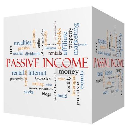 Passive Income 3D cube Word Cloud Concept