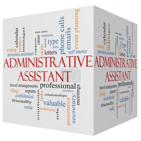 Administrative Assistant 3D cube Word Cloud Concept