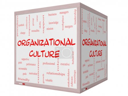 Organizational Culture Word Cloud Concept on a 3D cube Whiteboard