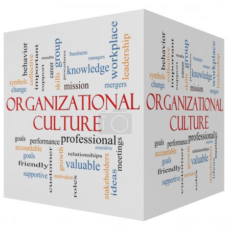 Photo for Organizational Culture 3D cube Word Cloud Concept with great terms such as roles, executive, mergers, mission and more. - Royalty Free Image