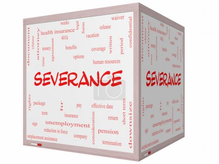 Severance Word Cloud Concept on a 3D cube Whiteboard