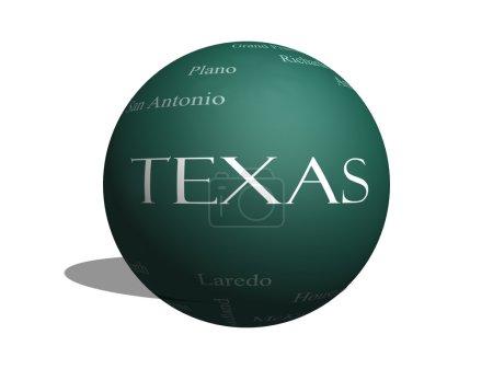 Foto de Texas palabra nube del concepto del estado en un 3d esfera pizarra con sobre las 30 ciudades más grandes en el estado como houston, dallas, san antonio y más. - Imagen libre de derechos
