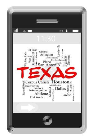 Foto de Texas palabra nube del concepto del estado del teléfono de pantalla táctil con ciudades figuran como austin, dallas, houston y más. - Imagen libre de derechos