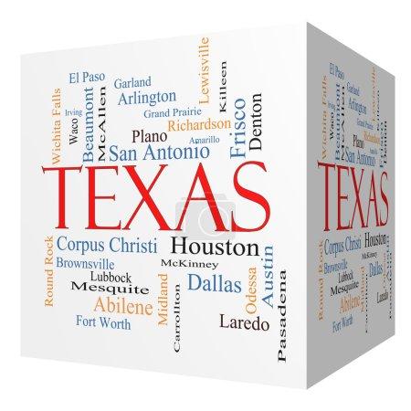 Foto de Texas 3d cubo palabra nube del concepto del estado con sobre las 30 ciudades más grandes en el estado como houston, dallas, san antonio y más. - Imagen libre de derechos