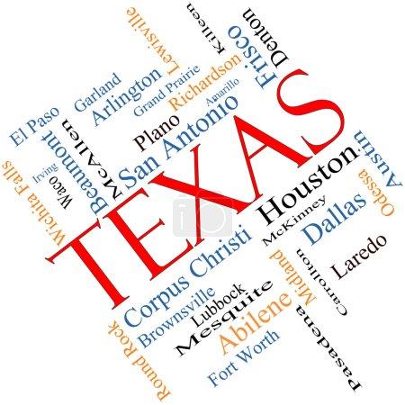 Foto de Texas palabra nube del concepto del estado con un ángulo de las 30 ciudades más grandes en el estado como houston, dallas, san antonio y más. - Imagen libre de derechos