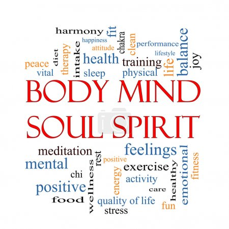 Photo for Body Mind Soul Spirit Word Cloud Concept with great terms such as harmony, life, sleep, fit and more. - Royalty Free Image
