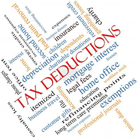 Tax Deductions Word Cloud Concept angled with grea...