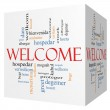 Welcome 3D cube Word Cloud Concept with Welcome gr...