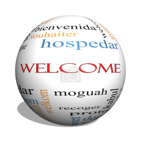 Welcome 3D sphere Word Cloud Concept with Welcome ...