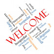 Welcome Word Cloud Concept angled with Welcome gre...