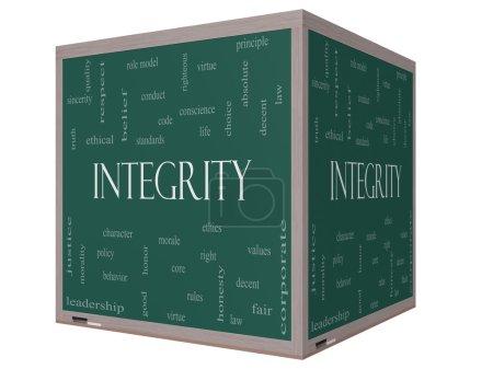 Photo pour Integrity Word Cloud Concept sur un tableau noir cube 3D avec de grands termes tels que vertu, code, conduite et plus . - image libre de droit