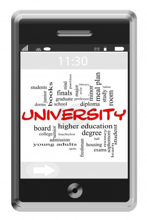 University Word Cloud Concept on Touchscreen Phone